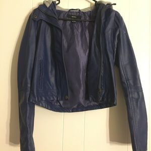 Forever 21 Blue Faux Leather Jacket Size M